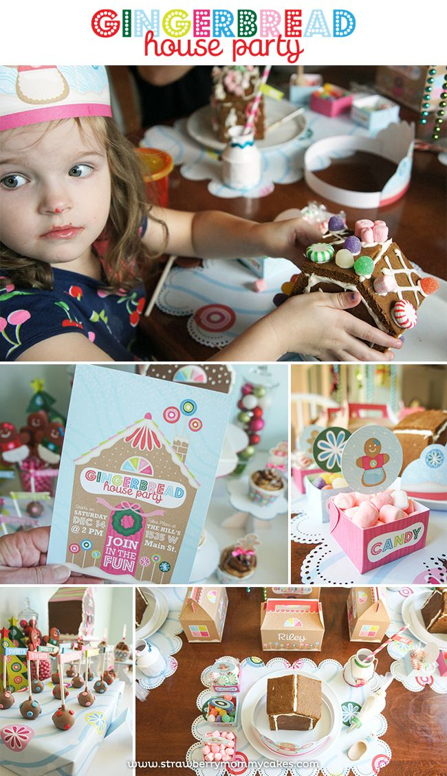 SO cute!!!!  Gingerbread House Party on www.strawberrymommycakes.com