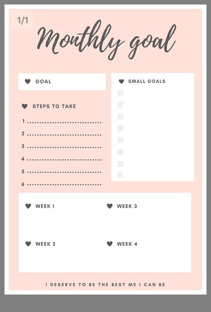 graphic about Monthly Goals Template identified as Month-to-month objectives template Self Take pleasure in Printable planner