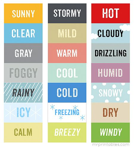 weather cards printable / My Weather Station