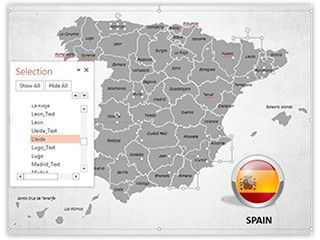 Download our professionally designed Spain Map With Selection List PowerPoint map. This #PowerPoint #map of Spain is affordable and easy to use. Get our editable map of Spain now for your upcoming presentation. This royalty #free map of Spain and its #provinces of ours lets you edit text and values easily and hassle free, and can be used for various #sales, #marketing, #business and educational PowerPoint #presentations.
