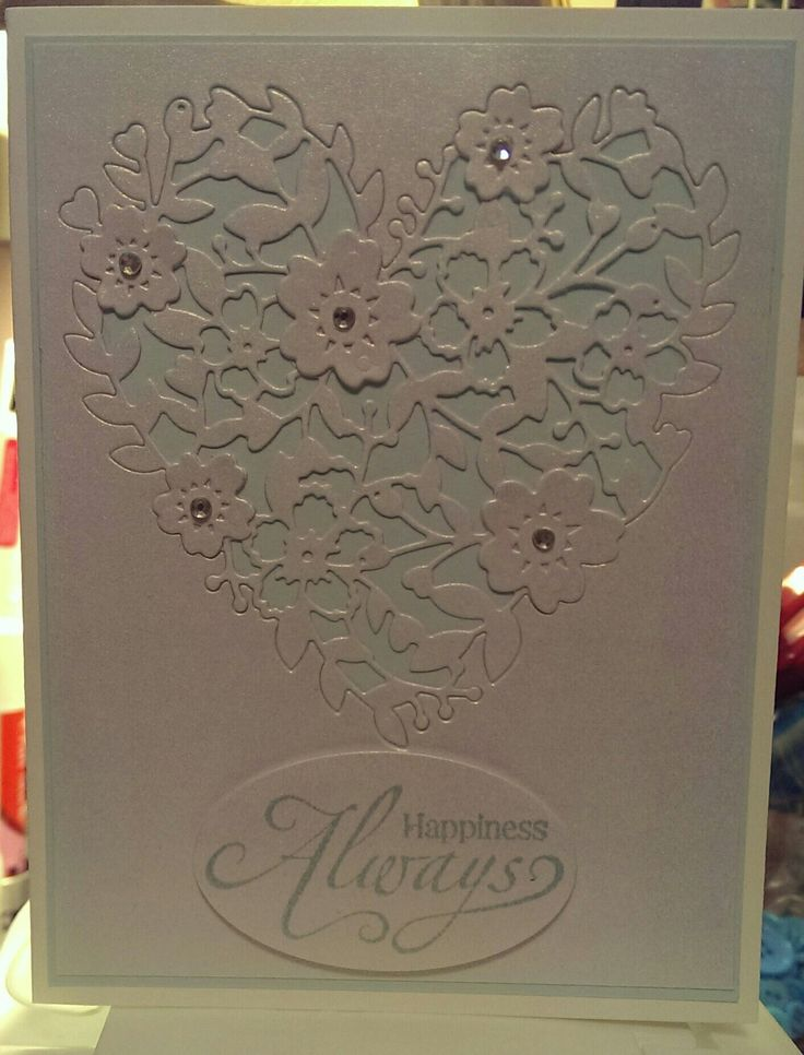 SU: Bloomin hearts thinlits, oval framelits, Delightful Dozen/happy greetings; Other: white gold shimmer paper