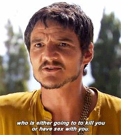 Gif of Pablo Pascal describing his character Oberyn Martell on Game of Thrones.