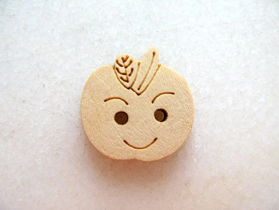 Cute Smile Apple  Wood Buttons Children Buttons Sewing by nezoshop, $2.60