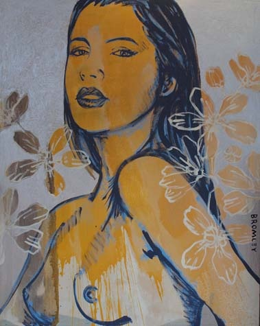 David  Bromley - Yellow Girl with Flowers