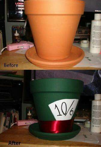 I don't know who made this, but it's just so clever!!! You could probably even make them into teacups!! The handles could be broken pots, or hose, anything practically!! #Hatter #AliceInWonderland #Pot