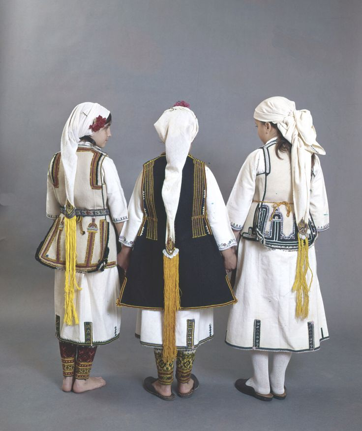 Three young girls from the villages of Aghia Paraskevi plain area of Florina. Peloponnesian Folklore Foundation