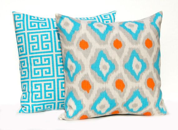 Throw Pillow Covers 18 x 18 Turquoise Orange by FestiveHomeDecor, $36.00