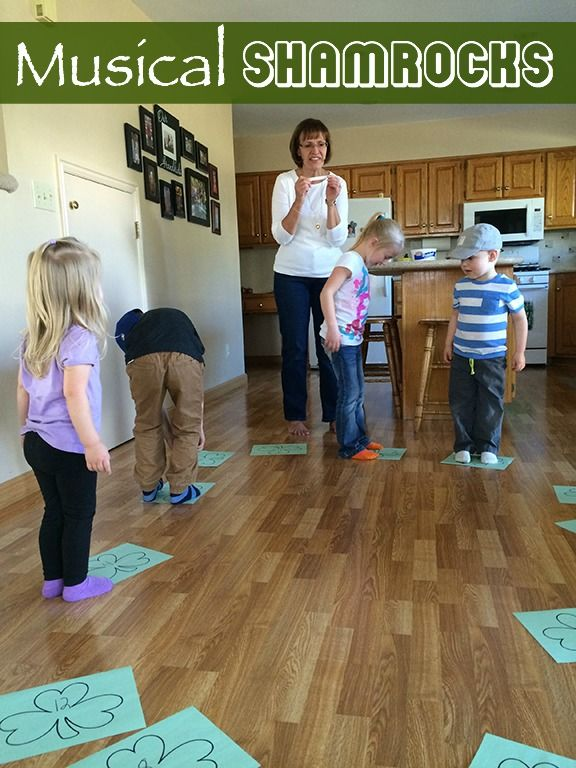 Musical shamrocks is a fun game to play at a St. Patrick's Day party with kids.