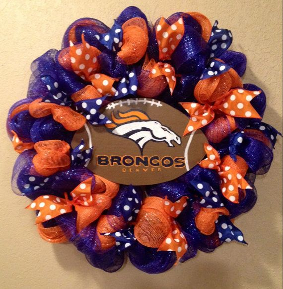 Denver Broncos football wreath football decor by WandNDesigns