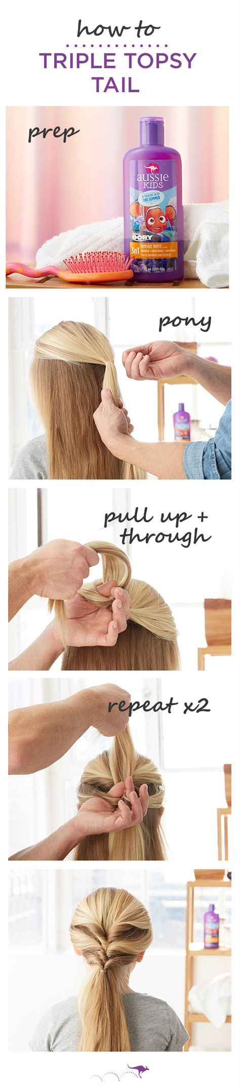 How To: Triple Topsy Tail   The perfect quick and easy kids style for play dates, trips to the park or even school   1. Section hair just above the temple and pull back into a loose pony • 2. Evenly part the section above the elastic, then pull the hair below the elastic up and through the part • 3. Repeat, evenly dividing the remaining hair into two ponytails. For smoother, stronger strands before you style, wash with Aussie Kids Mango Mate 3N1 shampoo, conditioner and body wash.