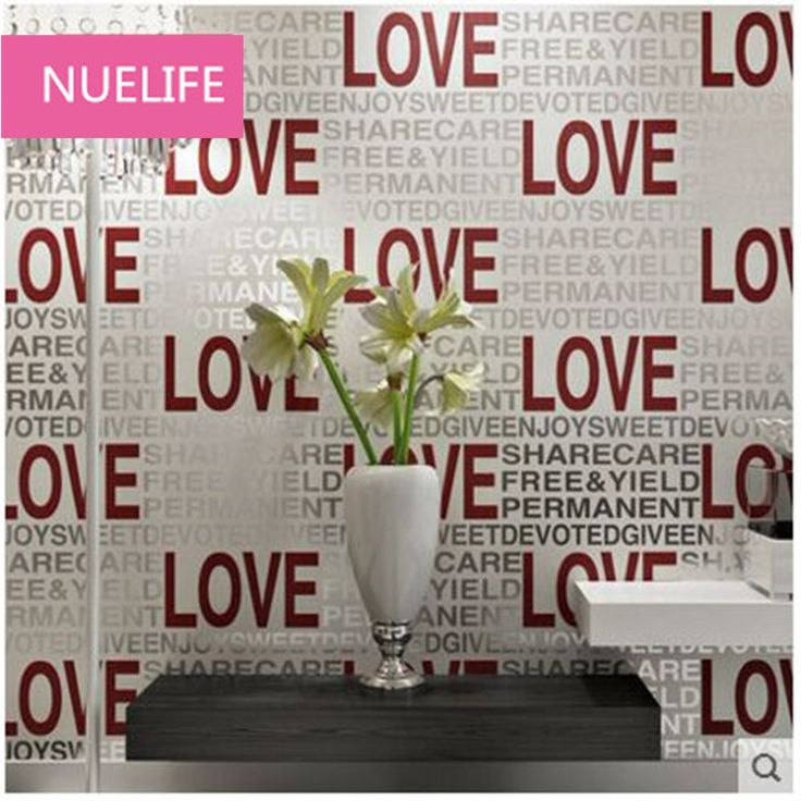 0.53x10m LOVE text pattern non - woven wallpaper wedding room living room bedroom television background wall clothing wallpaper
