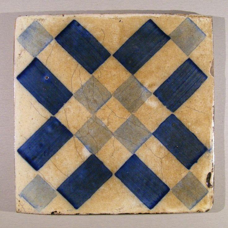 Genuine Antique geometric Pattern Portuguese tile .