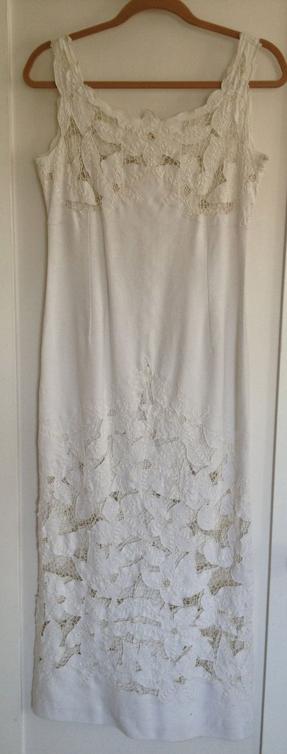Gorgeous (and Sexy) Vintage Floor Length White Linen Wedding Dress With Embroidery and Cutout Flowers Size Small by CuratorialDepartment on Etsy