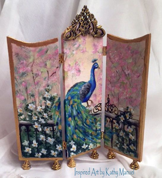 Dollhouse Miniature Painted Room Divider Screen Peacock Blossoms by  K.Manuel  #Unbranded