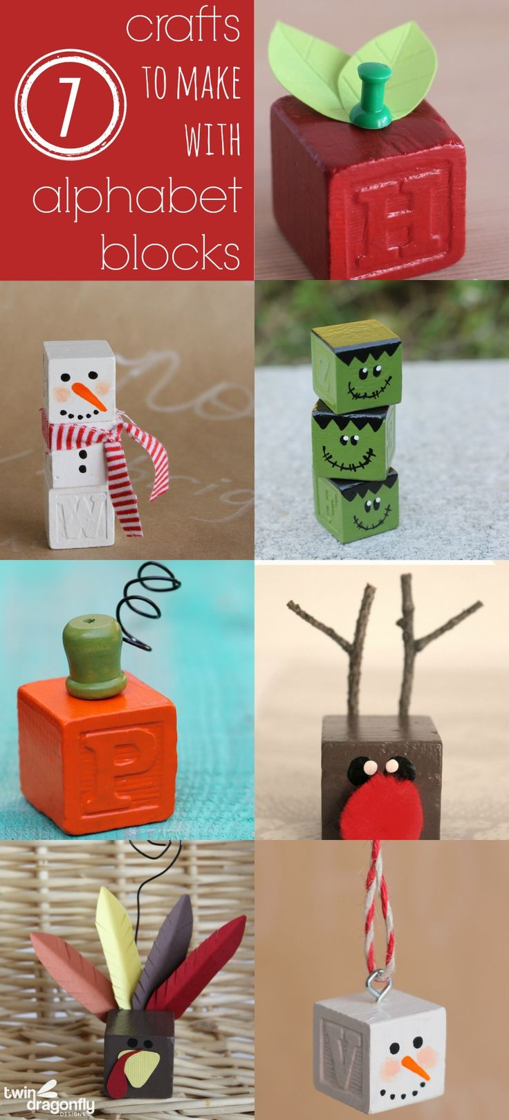 Seven Crafts to make with Alphabet Blocks - adorable!