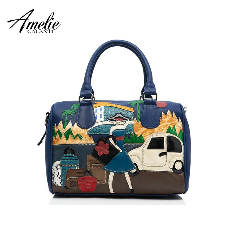 Retro bag handmade embroidery car and girl portable single shoulder bag