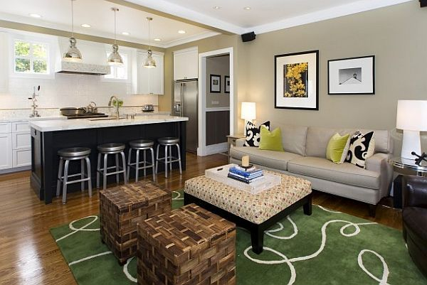 contemporary family room with kitchen island and bar stools