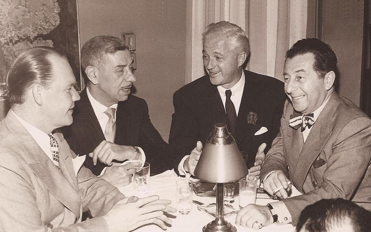 Restauranters from Hollywood's Golden age: Mike Romanoff, second from the left, Charlie Morrison (Mocambo) and Dave Chasen (Chasen's).
