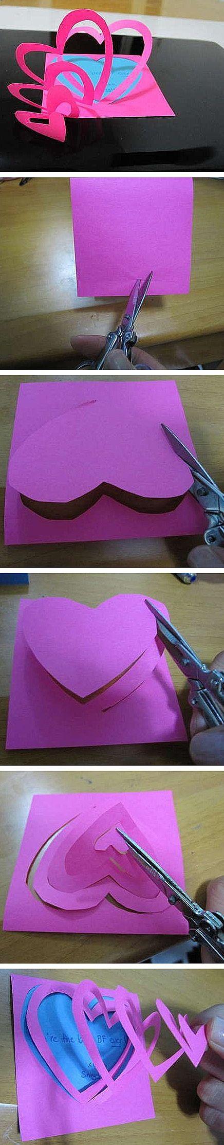 手工DIY {。桃颜}手工--爱心贺卡,打开我的心看到…