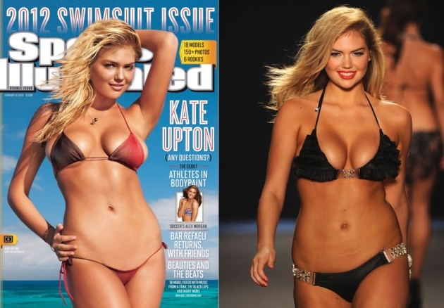There's something missing from the Sports Illustrated Swimsuit Issue cover featuring the voluptuous 19 year-old blond model Kate Upton. Namely her famous curves. While many cover girls wind end up with a breast augmentation, courtesy of Photoshop, Upton's breasts seem curiously, well, petite. The 33D-25-36 bombshell also seems to have been digitally resurfaced below the waist in order present a smooth belly, complete with six-pack and a strangely absent nether region.