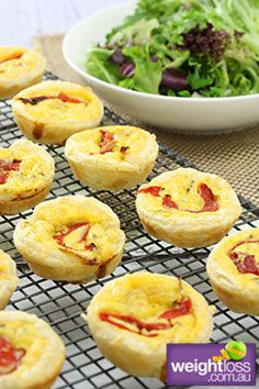 Healthy Lunch Recipes: Mini Quiches with Capsicum. #HealthyRecipes #DietRecipes #WeightlossRecipes weightloss.com.au