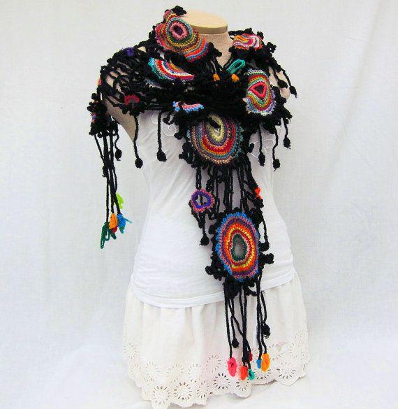 Multicolor crochet women's scarf by Iryna on Etsy