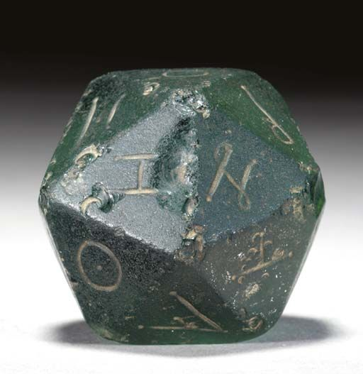A Roman glass gaming die ,2nd century. There have always been Geeks.