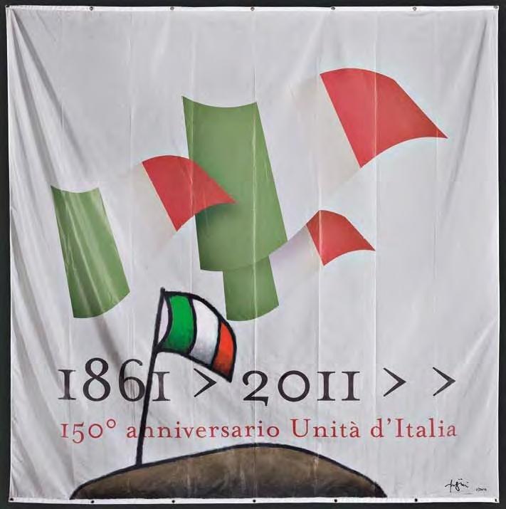 """Tino Stefanoni, """"Bandiera 150 anni"""", olio su bandiera, cm 300x300, dal catalogo della mostra """"Novanta artisti per una bandiera"""", ©2013 corsiero editore"""