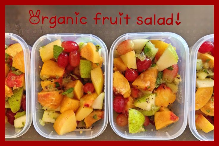 Fresh organic fruit salad with grated ginger and fresh mint from the garden!