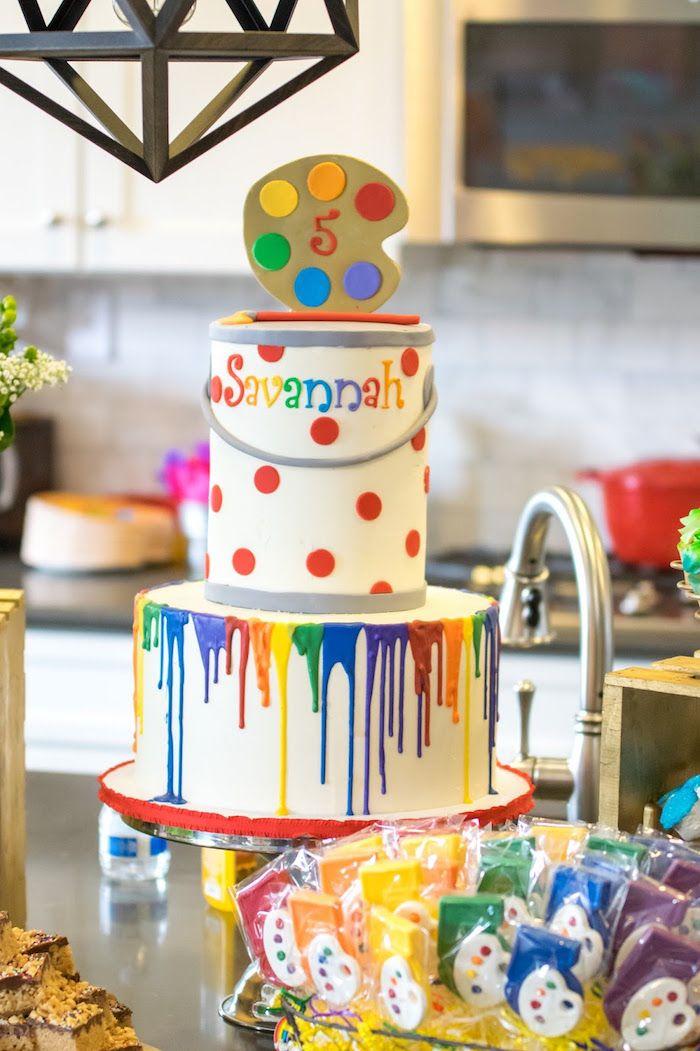 Rainbow pain cake from a Rainbow Paint Party on Kara's Party Ideas KarasPartyIdeas.com (37)