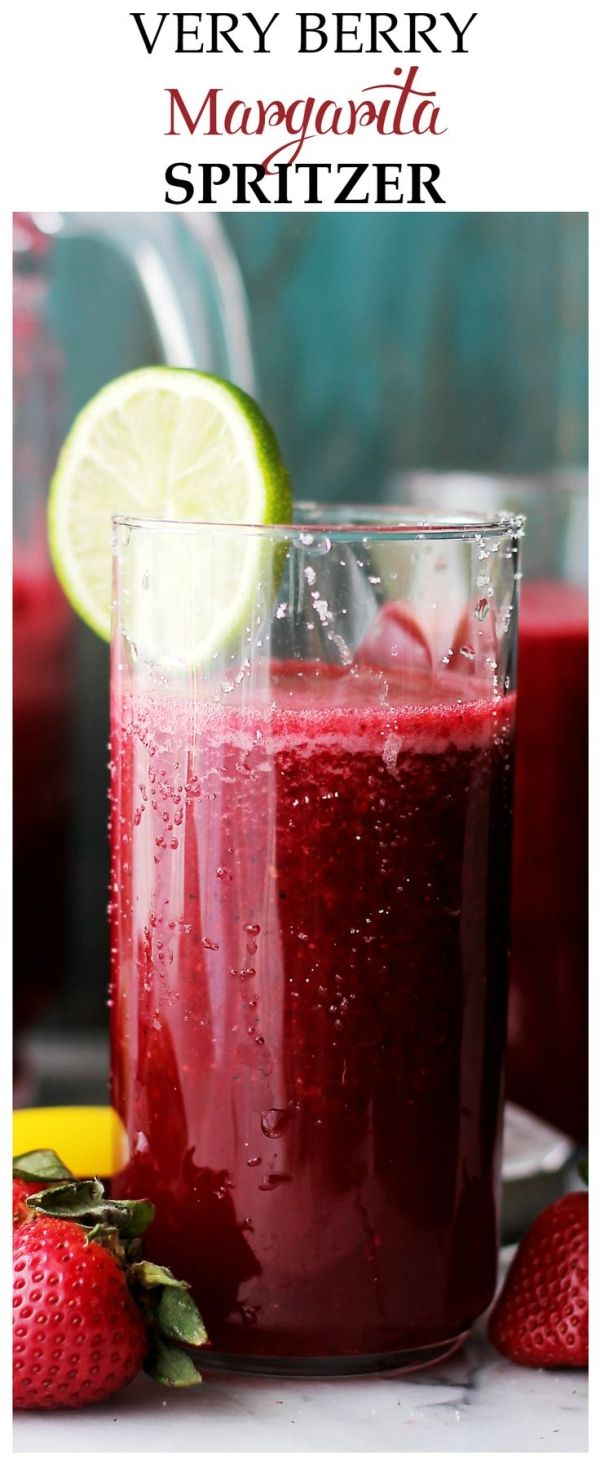 Very Berry Margarita Spritzer - A refreshing and delicious twist on the classic Margarita made with fresh berries, daiquiri mix and seltzer water. This is the perfect drink for parties and/or gatherings. Get the recipe on diethood.com by kathie