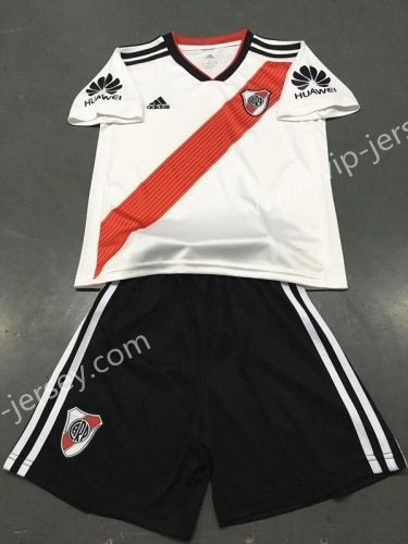 d1842fa47 2018-19 River Plate Home White Stripe Kids Youth Soccer Uniform ...