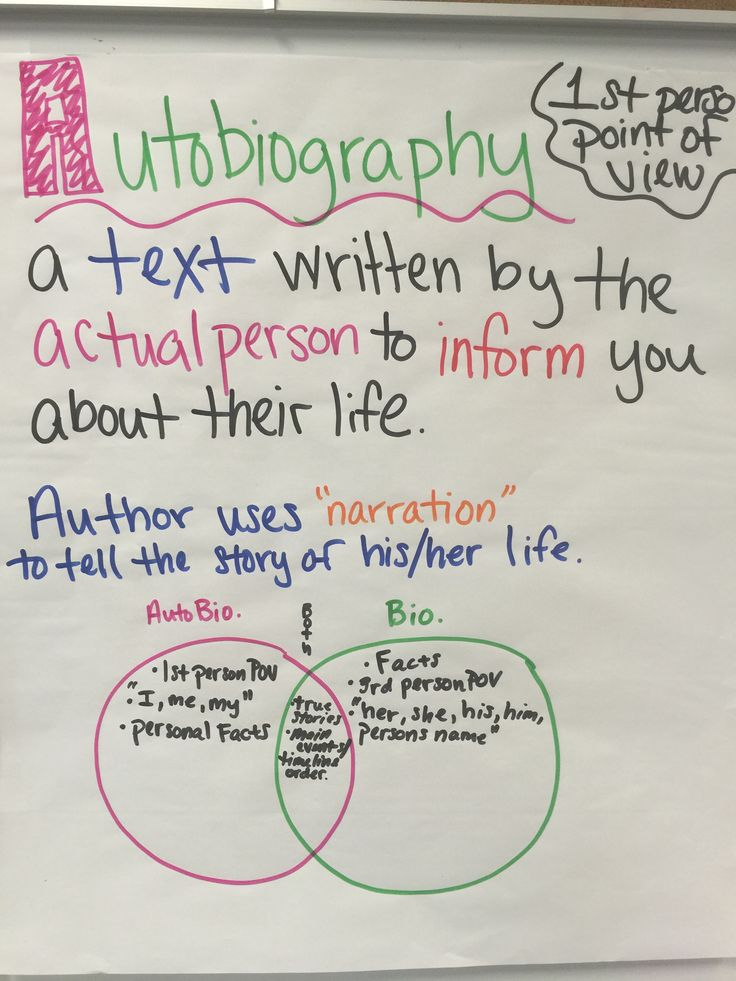 Autobiography anchor chart                                                                                                                                                                                 More