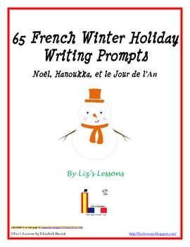 Have your students practice their French writing skills with some holiday themed writing prompts! This document contains 65 different writing prompts centered around Christmas, Hanukkah, and the New Year. There are prompts for beginner, intermediate, and advanced French students. It also contains a sheet for your students to write their responses on. If you are looking for some holiday vocabulary for your students to use in the prompts, or more winter holiday activities you may be interested…