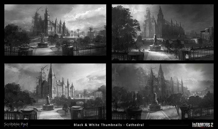 Infamous 2 - Cathedral Black & White Thumbnails, James Paick on ArtStation at http://www.artstation.com/artwork/infamous-2-cathedral-black-white-thumbnails