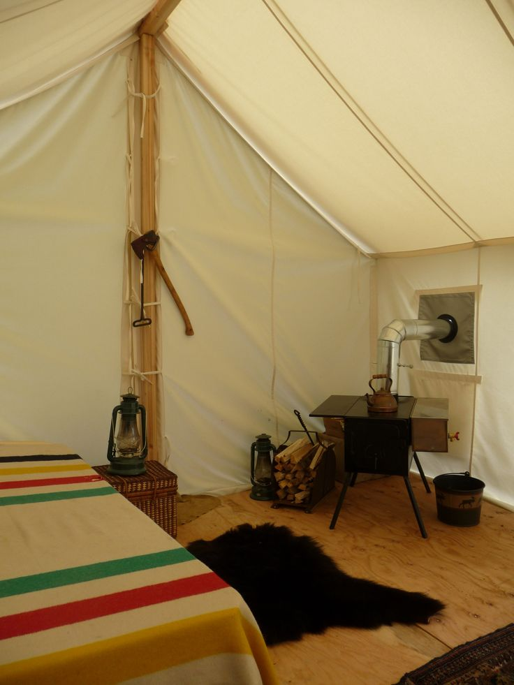 Outpost Co. canvas tents sport Hudson's Bay Blankets.