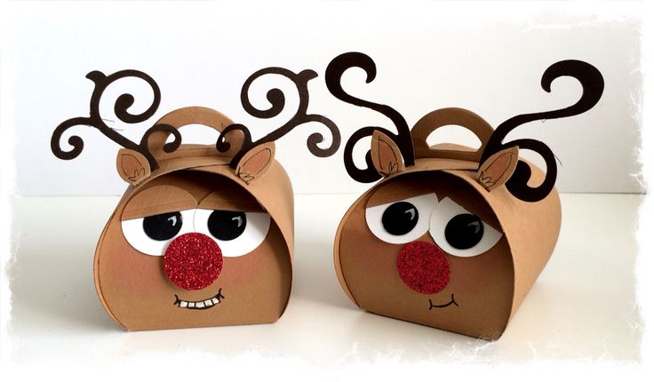 Rudolph reindeer designed and made by Tracey Grundy - Independent Stampin' Up! Demonstrator using the Curvy Keepsakes die Characteristic mouths have been drawn on.