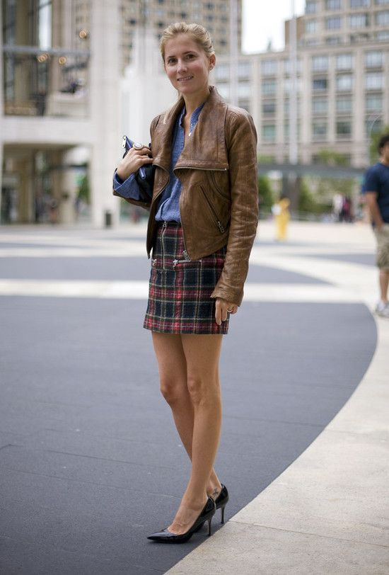 So cute!  The skirt and pumps soften the denim & leather... (look, no platforms!)