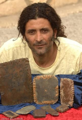 """Seventy metal books found in cave in Jordan - They're small """"books,"""" but they could be one of the biggest finds in Christian history. 70 tiny, lead tablets, bound with wire, were found in the last five years in Jordan, and some say they could offer key details of the early church, the final years of Jesus's life, and may even be referenced in the book of Revelation. In fact, they could even predate the writings of St. Paul.  Hassan Saida with some of the artefacts that he says he inherited…"""