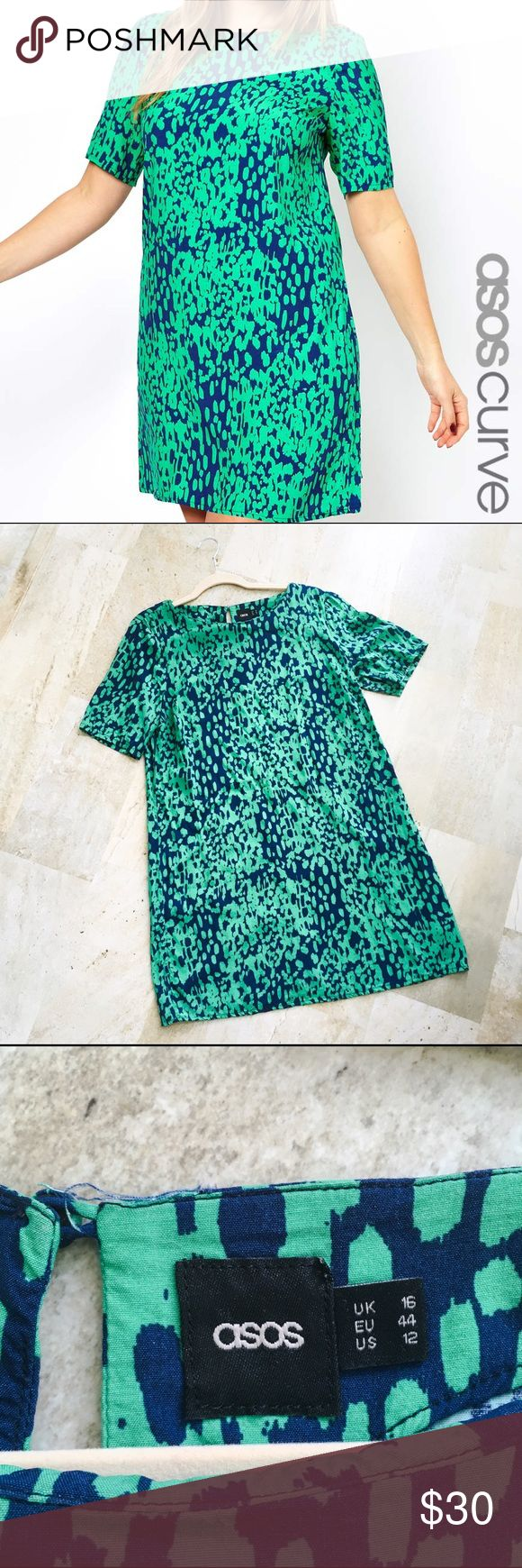 Asos Curve Blue and Green Leopard Shift Dress This is a gently used Asos Curve Blue and Green Leopard Shift Dress. In excellent condition with minimal signs of wear. ASOS Curve Dresses