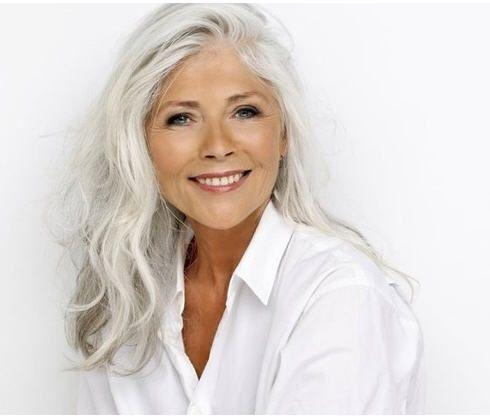 beautiful long gray hair