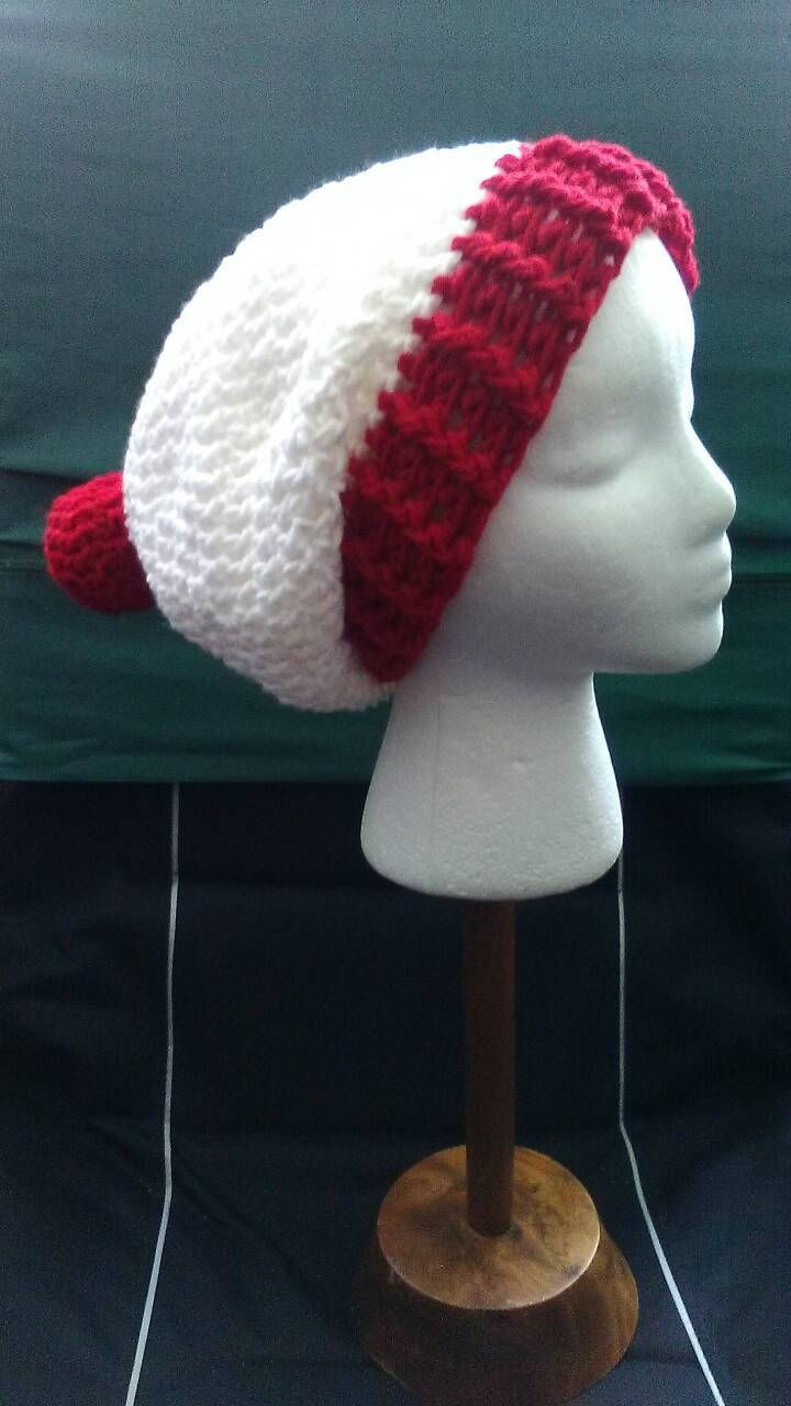 Red and White Crochet Slouchy Beanie, Where's Waldo Hat, Christmas Crochet Hat, Red and White Hat, Crochet Hats,  Ready to Ship, B82-17-0628 by NoreensCrochetShop on Etsy