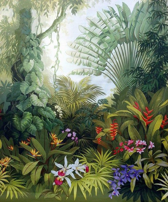 Oil Painting Tropical Rainforest Forest Wallpaper Wall Mural