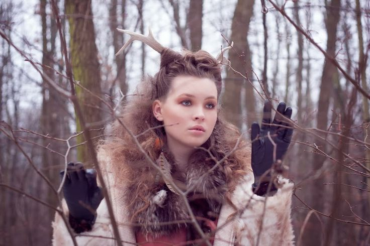 #model #winter #shooting #fur #antler #hair