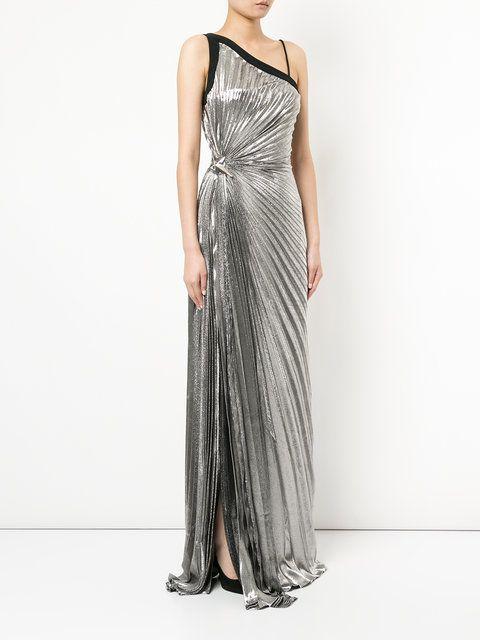 Mugler Goddess pleated lamé gown