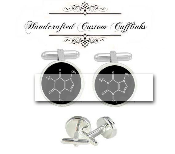 coffee Caffeine chemisty MOLECULAR men Cufflinks by Littlebotton, $40.00