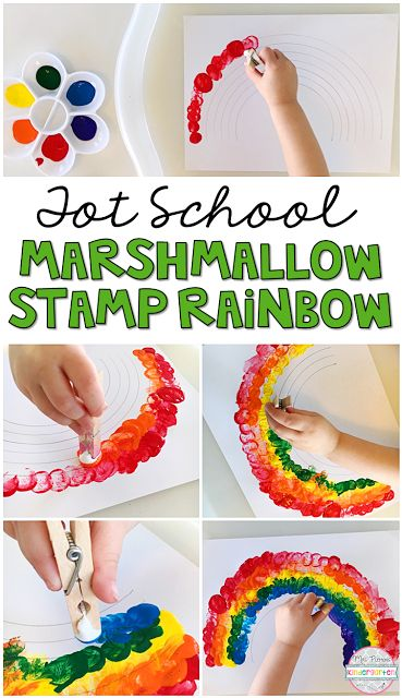 Stamping with mini marshmallows is a great way to build fine motor skills, so this marshmallow stamp rainbow is perfect for a St. Patrick's Day theme in tot school, preschool, or the kindergarten classroom.