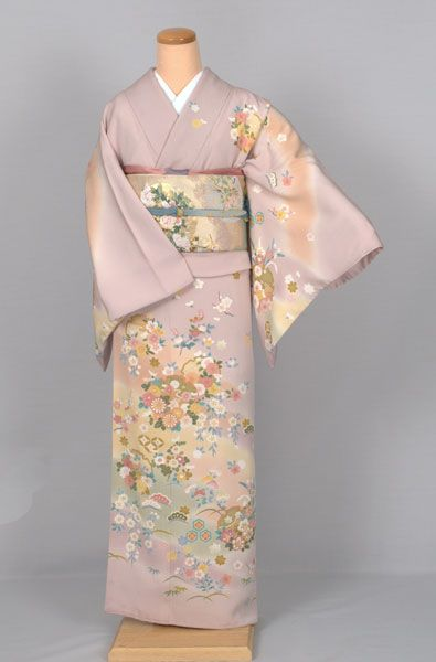 Mauve Houmongi with Colorful Floral Print
