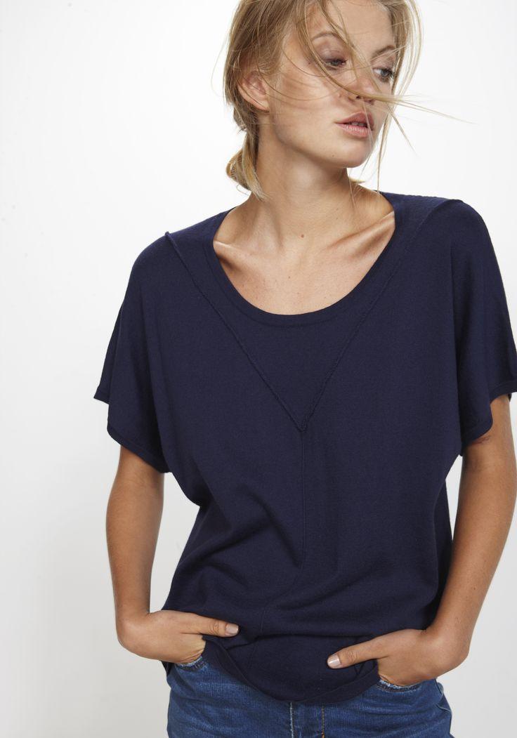 Natty Top - navy Silk/Cashmere/Cotton http://nineteen46.co.nz