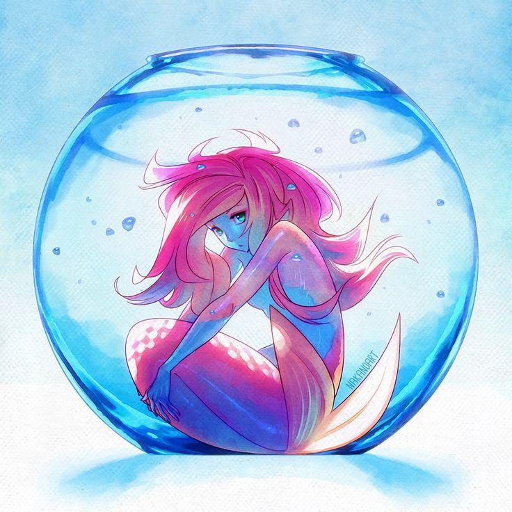 Captive Mermaid by nakanoart #illustration character female mermaid fish blue water bubble paper texture